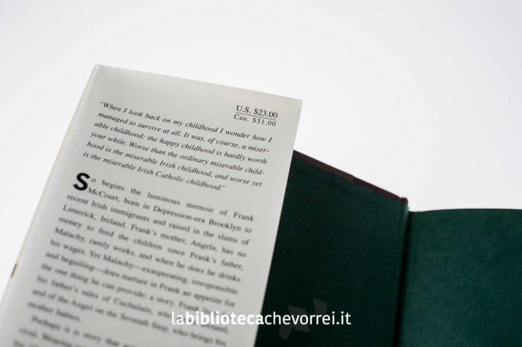 """L'aletta sinistra della copertina del libro di Frank McCourt """"Angela's Ashes""""."""