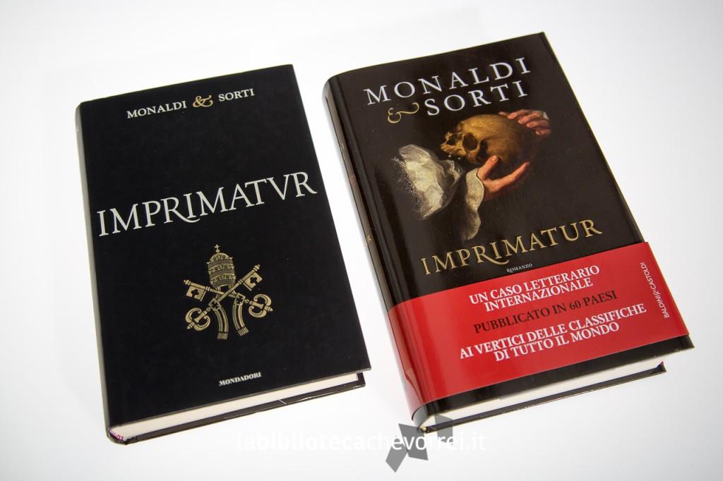 Prime edizioni di Imprimatur a confronto: a sinistra edizione Mondadori (fuori catalogo) e a destra la nuova edizione Baldini & Castoldi.