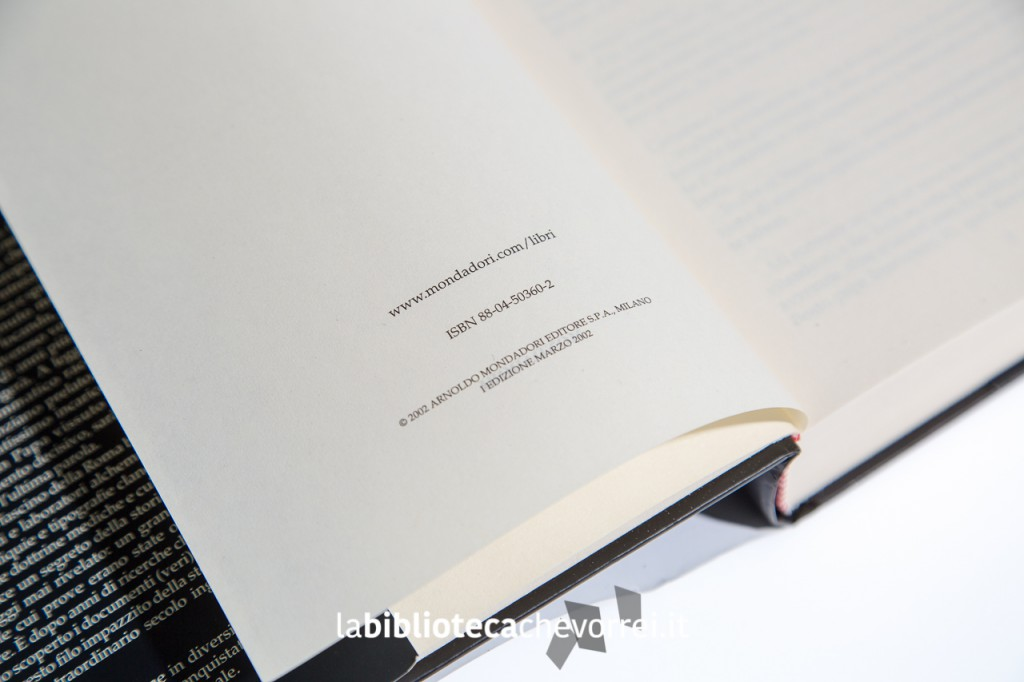 Dettaglio della prima edizione di Imprimatur della Mondadori nella pagina copyright