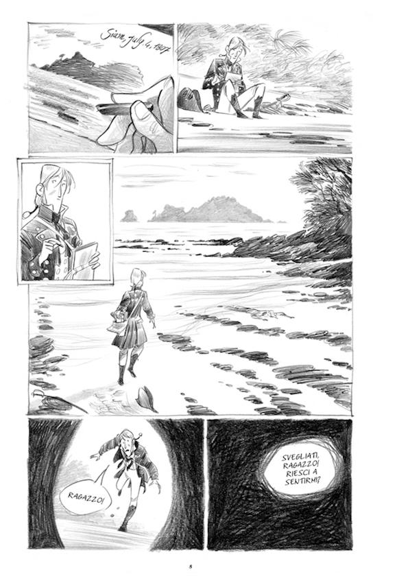"""Una delle pagine interne del volume """"Il porto proibito"""" di Stefano Turconi e Teresa Radice."""