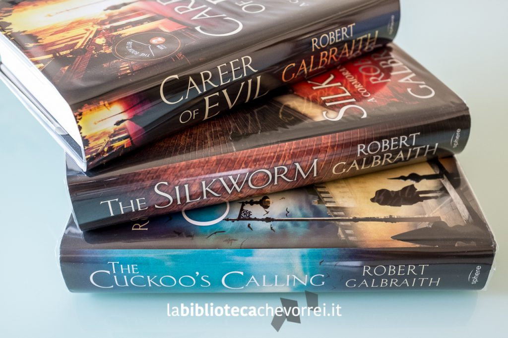 I tre romanzi firmati da Robert Galbraith.