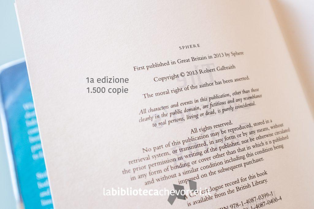 """La pagina dei crediti della prima edizione del libro """"The Cuckoo's Calling""""."""