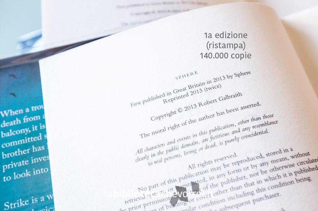"""La pagina dei crediti della prima ristampa del libro """"The Cuckoo's Calling"""". Si riconosce per la scritta """"Reprinted 2013 (twice)""""."""