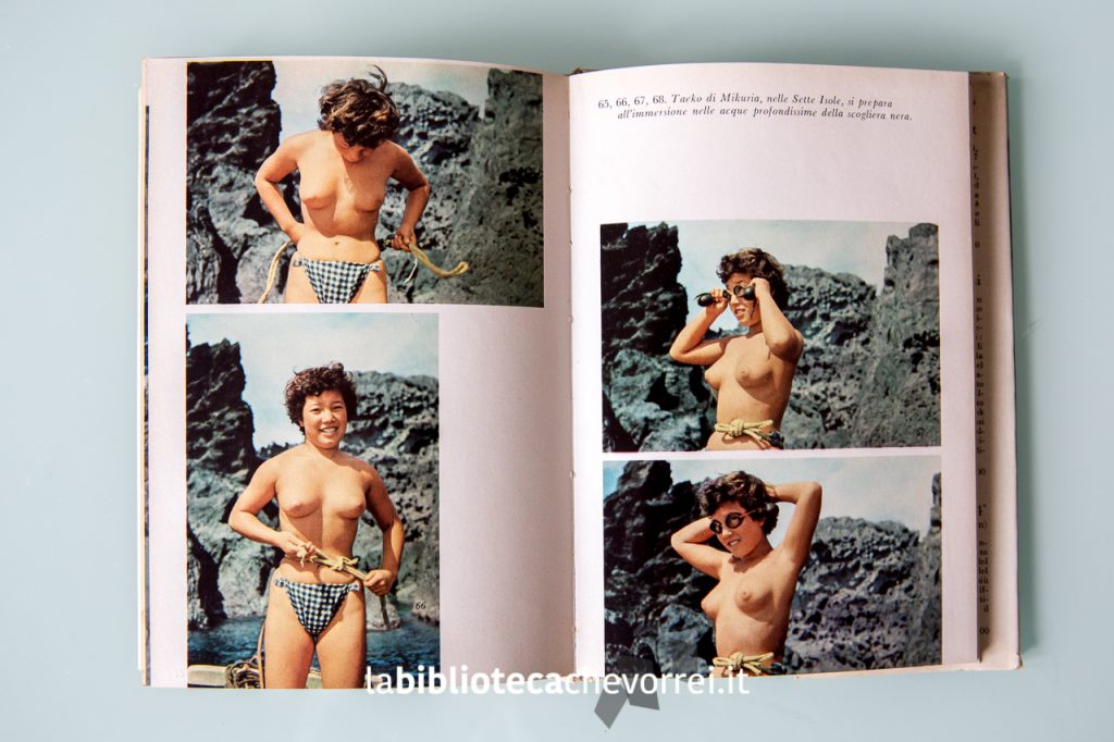 Interno del libro: pescatrici Ama sulla scogliera nera pronte a immergersi.