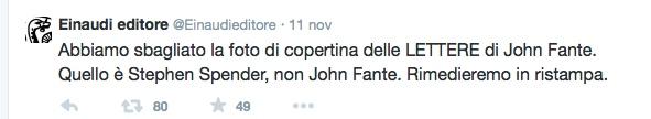 """Tweet di Einaudi sull'errore nella copertina del libro di John Fante """"Lettere""""."""