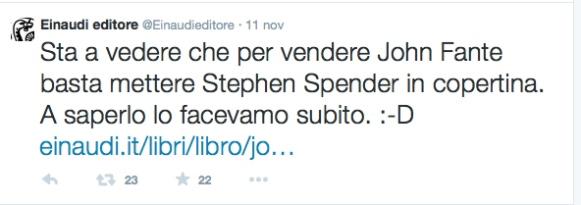 """Tweet ironico di Einaudi sull'errore nella copertina del libro di John Fante """"Lettere""""."""