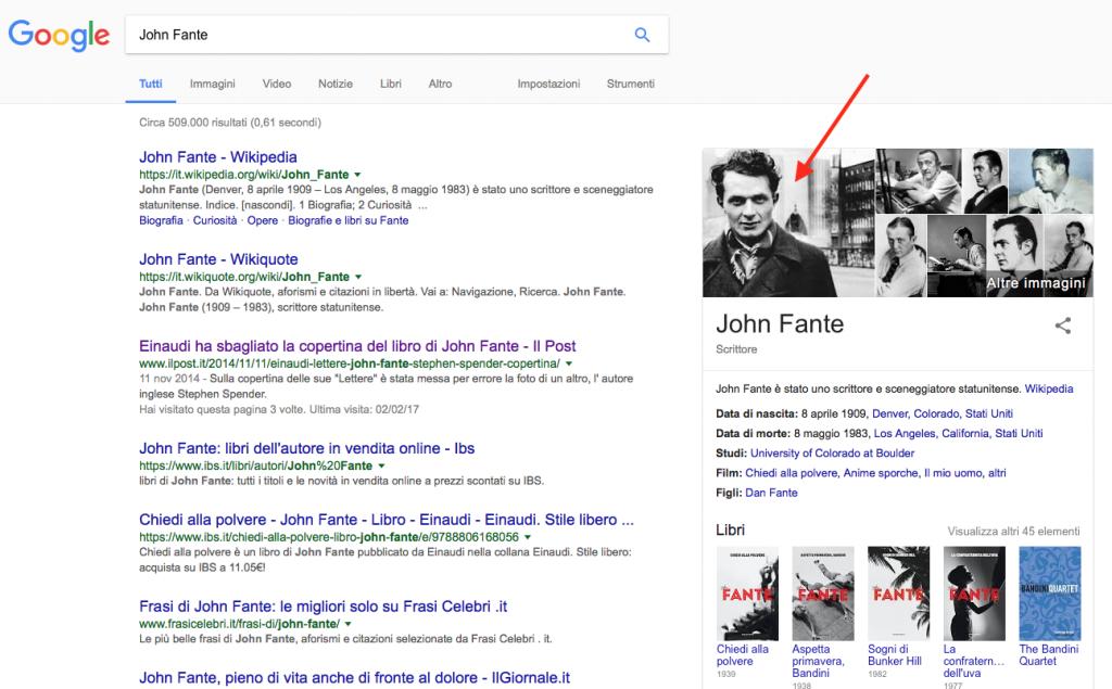 Se si cerca John Fante su Google, nelle immagini appare un'altra persona.