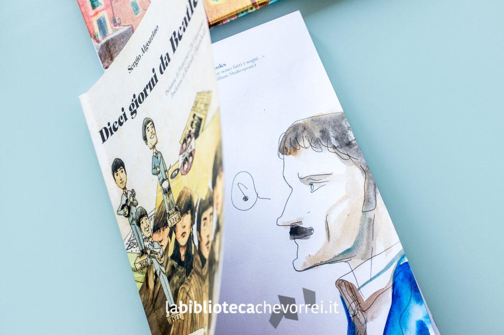 """Illustrazione con acquarello di Sergio Algozzino sul volume edito da Tunué """"Dieci giorni da Beatle""""."""