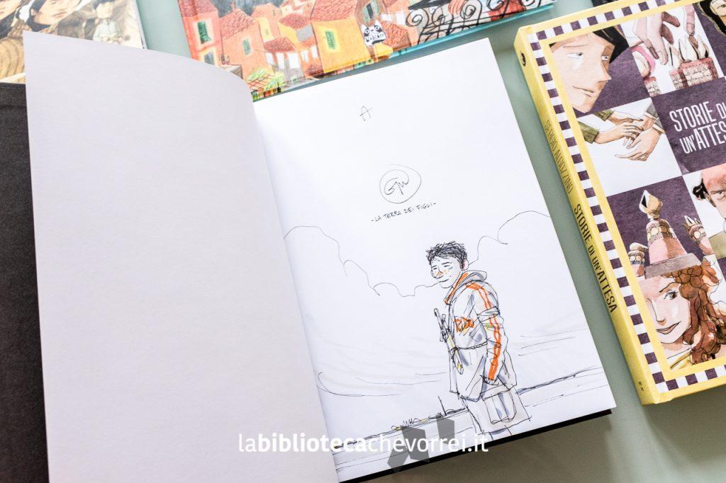 """Disegno con dedica di Gipi sul volume """"La terra de figli"""", edizione Coconino Press."""