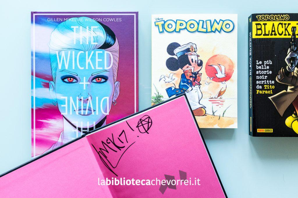 """Acquisti: Numero uno di """"The Wicked + The Divine"""" con autografo degli autori e l'edizione speciale del numero Topolino in edicola con la storia che celebra il ritorno del Maestro Cavazzano """"Topo Maltese""""."""