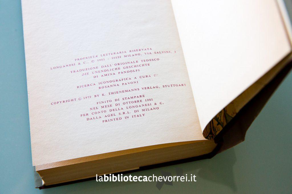 Pagina dei crediti nella prima edizione del libro. L'anno riportato è il 1981 e non sono annotate ristampe.
