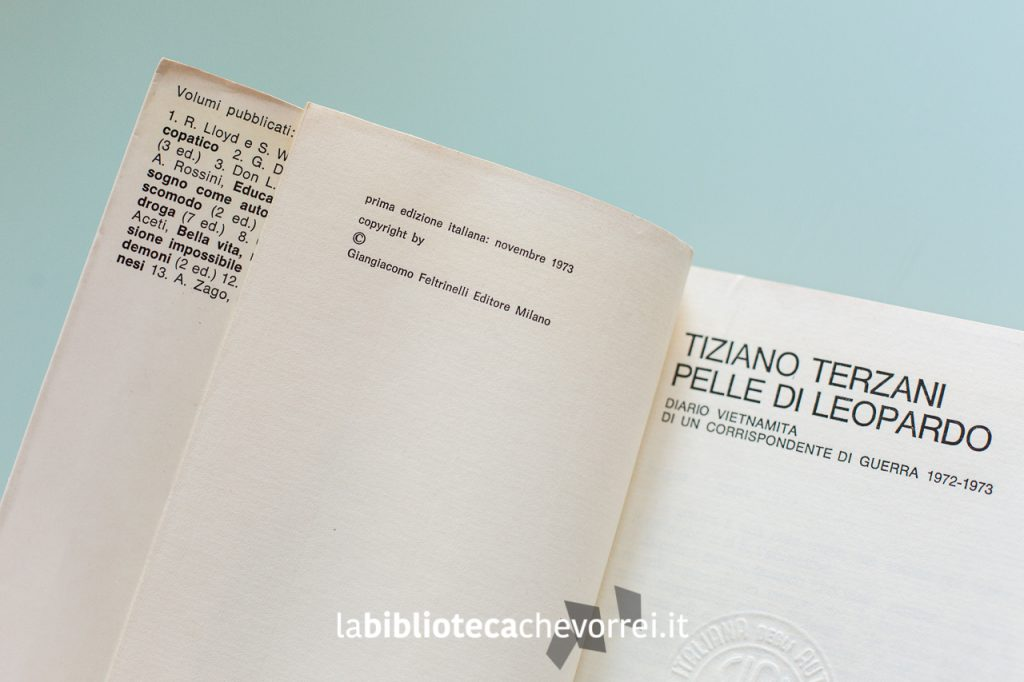 Pagina interna che certifica la prima edizione italiana del novembre 1973.