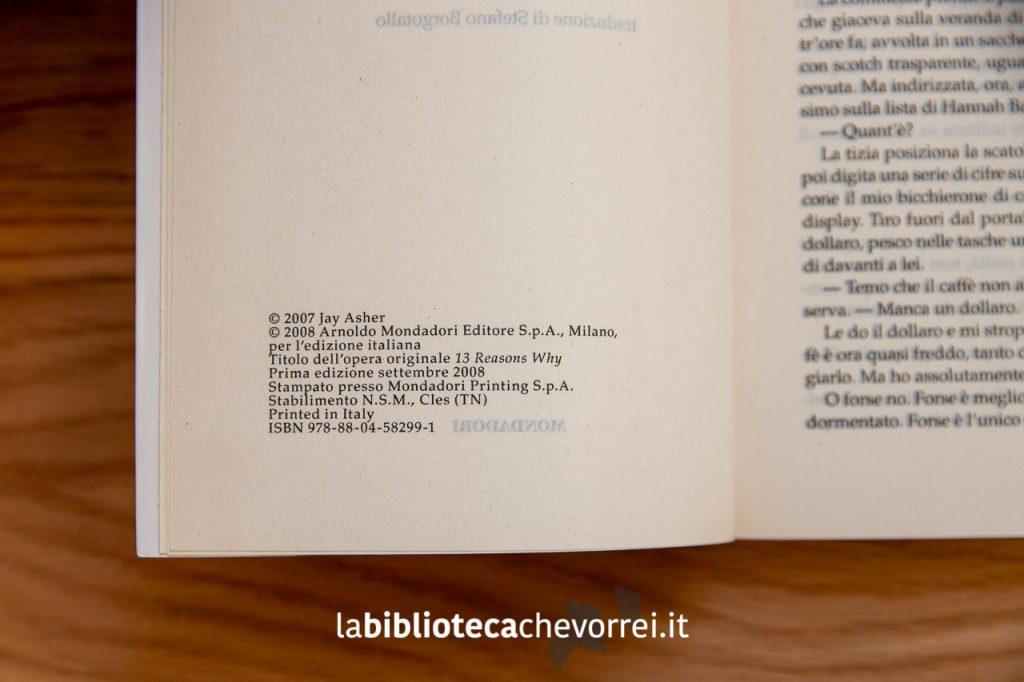 La pagina dei crediti della prima edizione italiana di 13 Tredici di Jay Asher.
