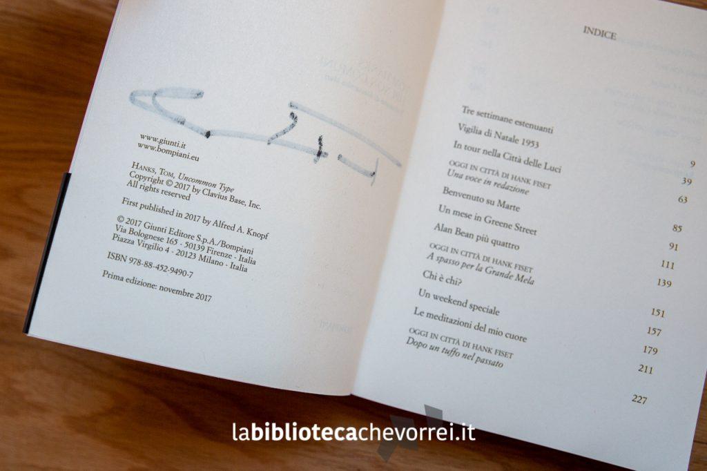 """Prima edizione del libro """"Tipi non comuni"""". Ed. Bompiani. Pagina dei crediti con riportato il mese e l'anno di stampa: novembre 2017."""