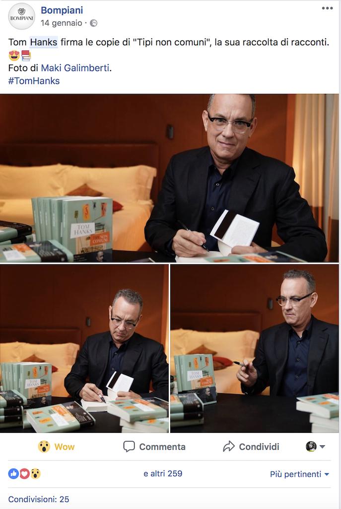 Post su Facebook della Bompiani che annuncia il firma copie privato di Tom Hanks nella sua camera d'albergo.