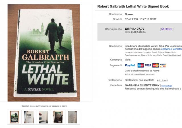 Il prezzo finale su eBay per la seconda copia di Lethal White apparsa in vendita.