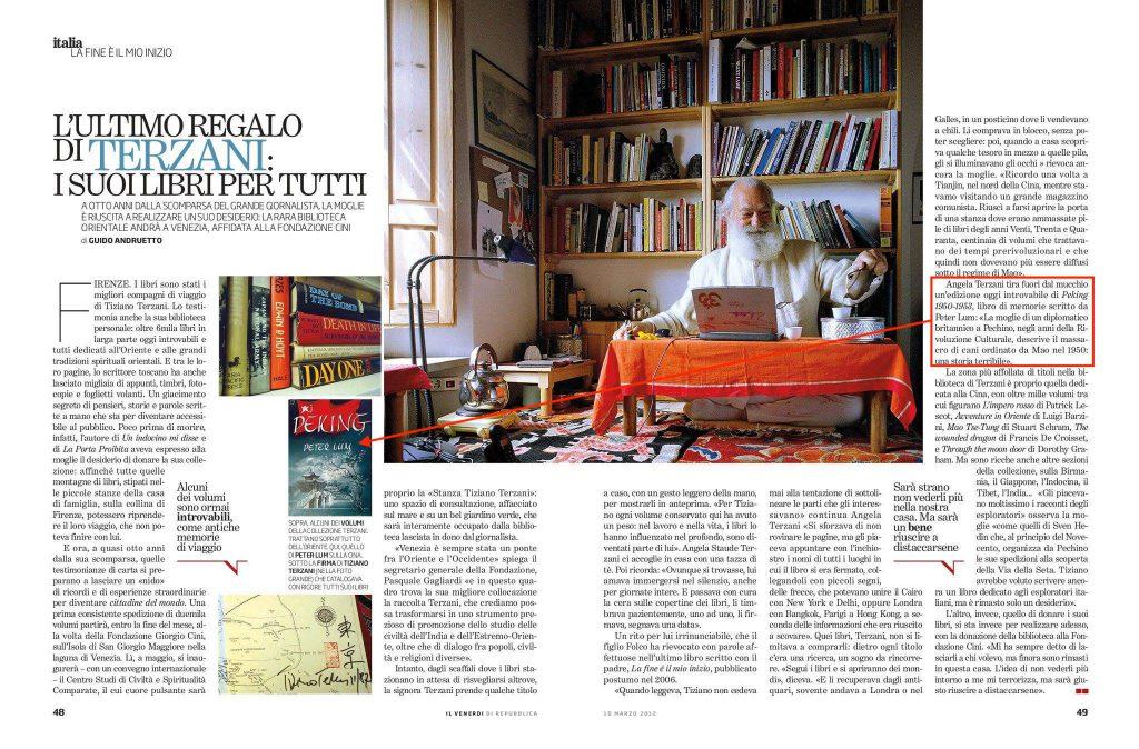 Intervista ad Angela Staude, moglie di Tiziano Terzani dove viene citato il libro di cui parliamo in questo articolo (fonte: web)