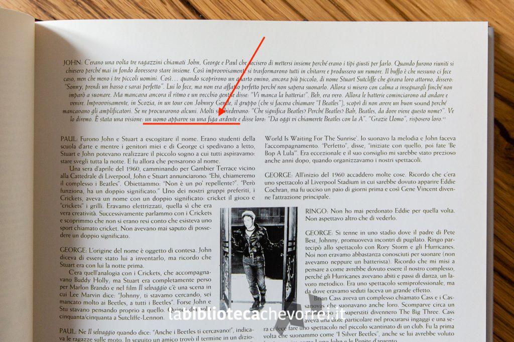 Pagina 41. La famosa traduzione errata del termine Flaming Pie. The Beatles Anthology, Rizzoli, 2000.