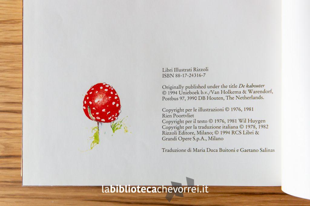 """Pagina dei crediti de """"Il grande libro degli gnomi"""" di Wil Huygen e Rien Poortvliet. Rizzoli, 1994."""