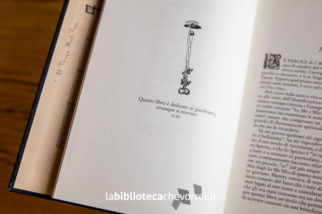 """La curiosa dedica ai giardinieri scritta da George Harrison. """"I Me Mine"""", Rizzoli, 2002."""