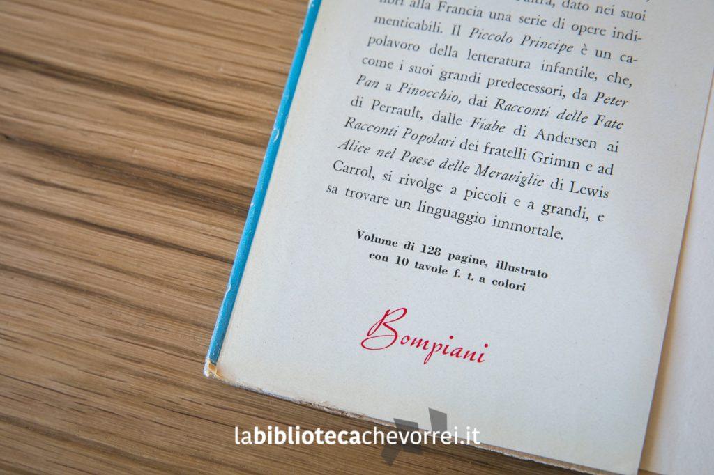 Risvolto della copertina della prima edizione del libro Il Piccolo Principe. Bompiani, 1949.