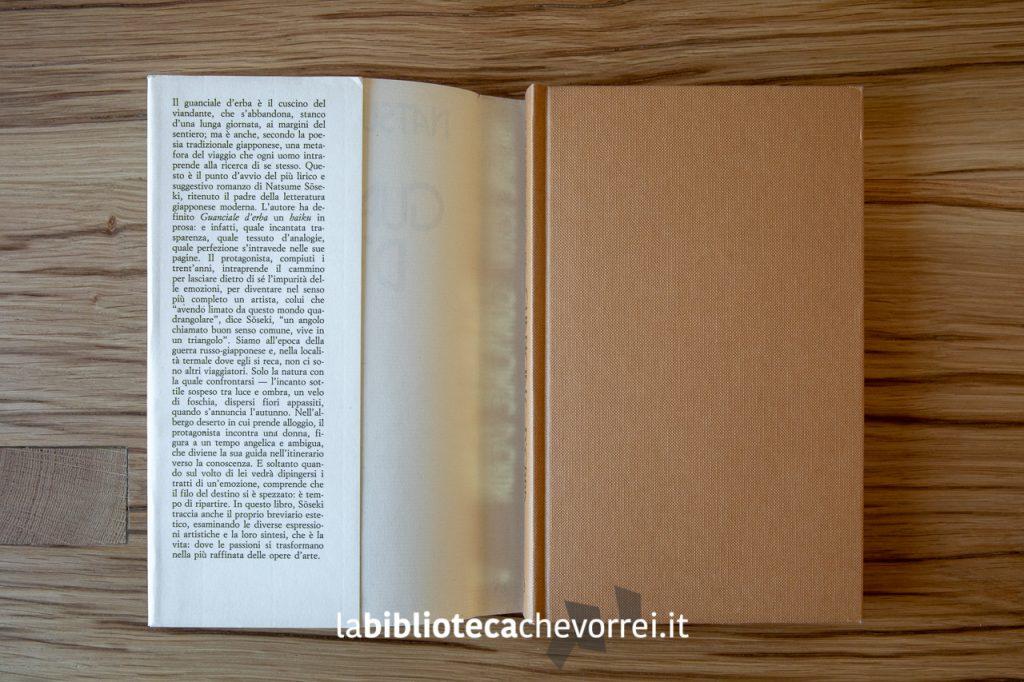 """Copertina del libro di Natsume Sōseki """"Guanciale d'erba"""". Editoriale Nuova, 1983."""