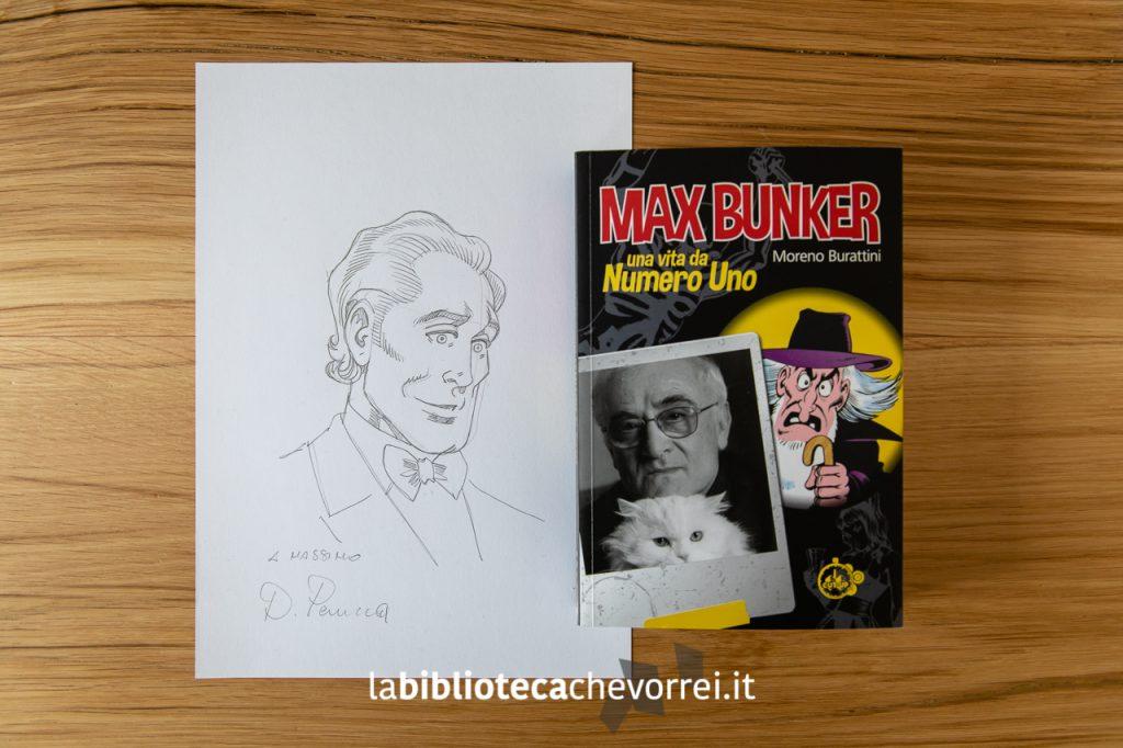 Biografia autografa di Max Bunker e sketch di Alan Ford disegnato da Dario Perucca.