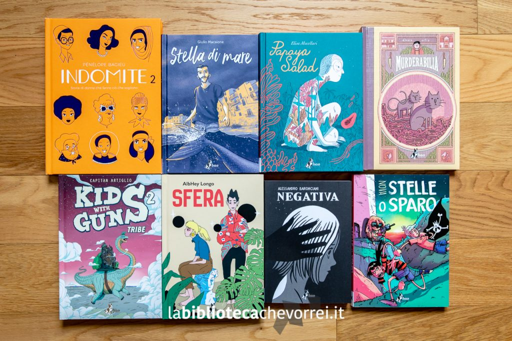 Alcuni dei volumi recentemente usciti per Bao Publishing in vendita a Cartoomics.