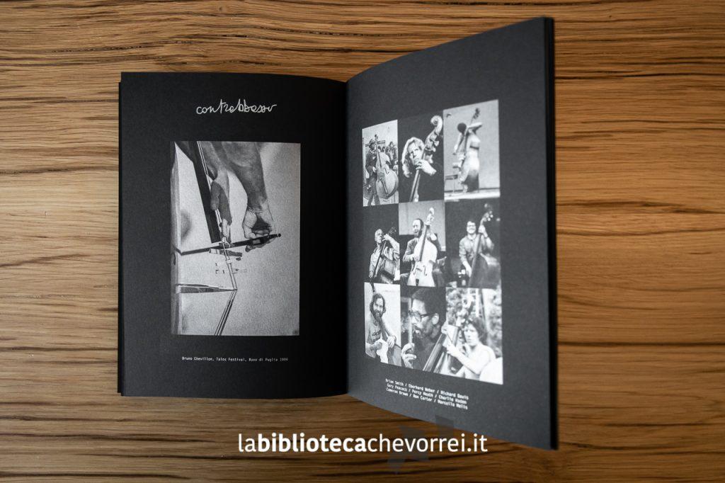 """Pagine interno del libro Jazz AREA di Roberto Masotti. """"Contrabbasso""""."""