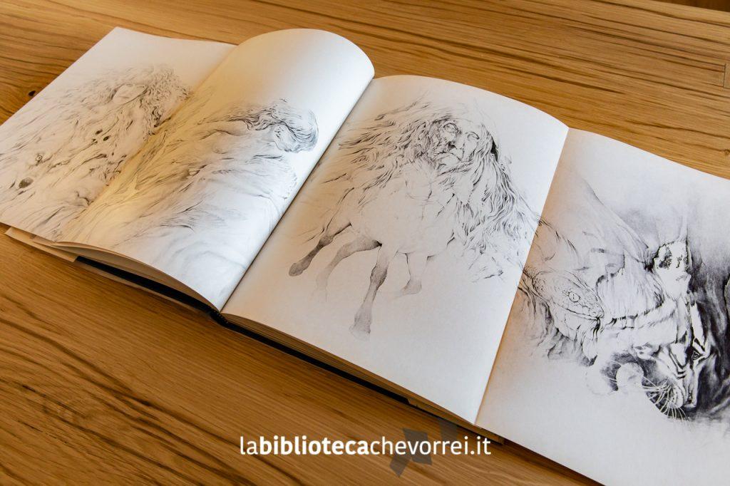 """Alcune pagine del libro si aprono per permettere al lettore una completa visione delle stupende illustrazioni interne. """"Streghe"""" di Erica Jong. Rizzoli, 1983."""