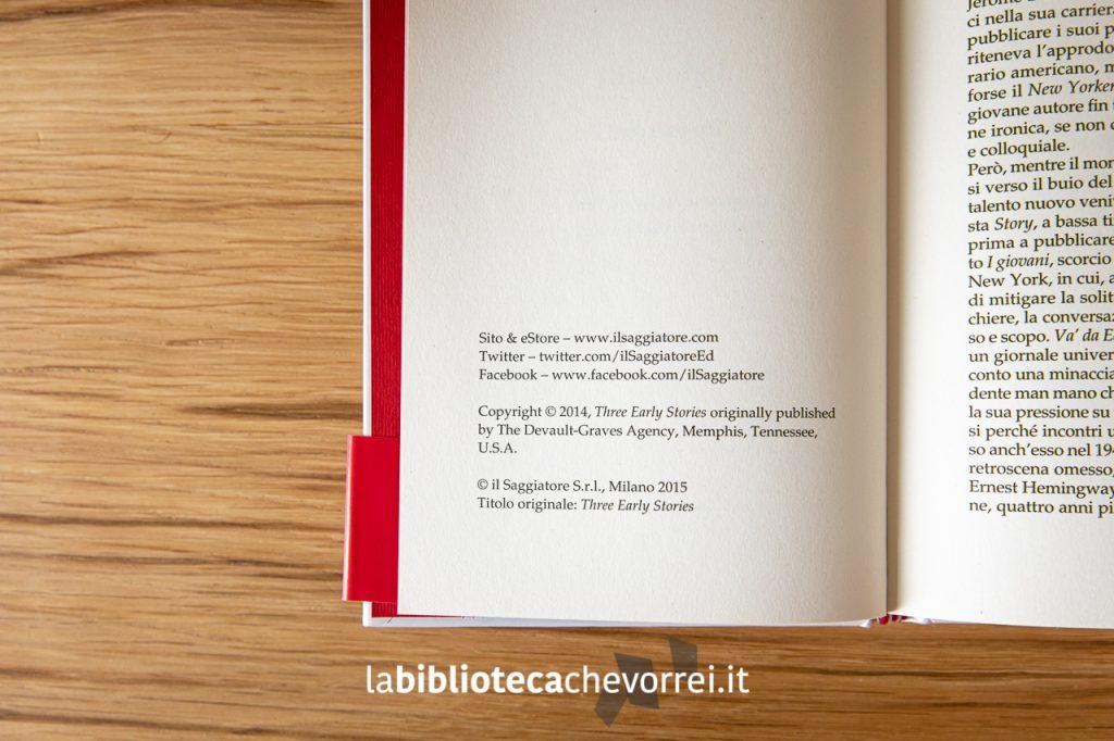 "Pagina del copyright. J.D. Salinger ""I giovani. Tre racconti.""."