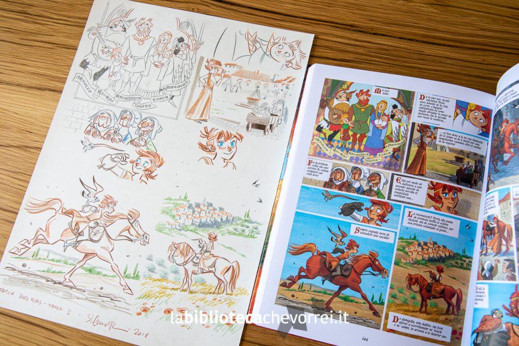 """A sinistra, la tavola originale di Stefano Turconi messa all'asta. A destra,la pagina riprodotta nel volume """"Tosca dei boschi"""". Bao Publishing, 2018."""