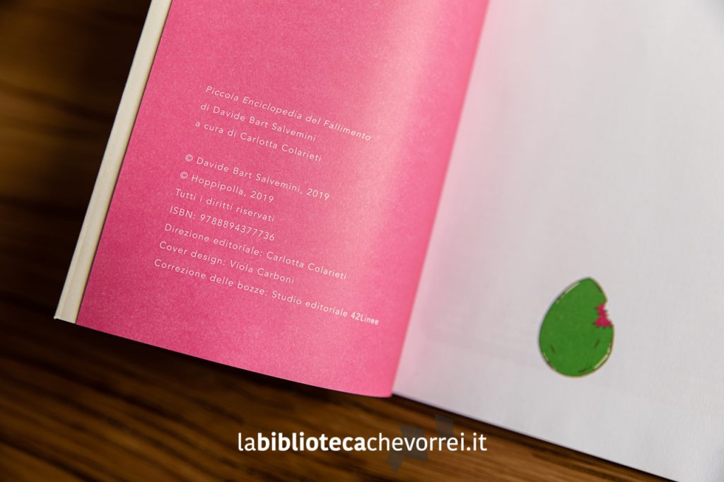 La pagina dei crediti della prima edizione della Piccola Enciclopedia Fallimento, hoppípolla, 2019.