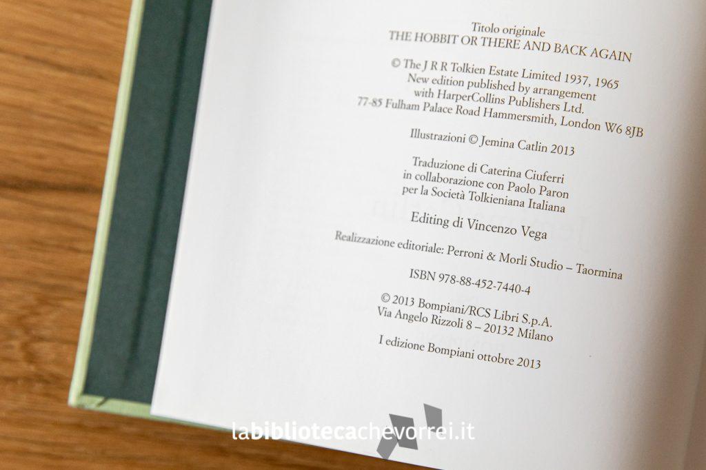 Pagina dei crediti de Lo Hobbit illustrato da Jemima Catlin, 1a edizione, Bompiani ottobre 2013.