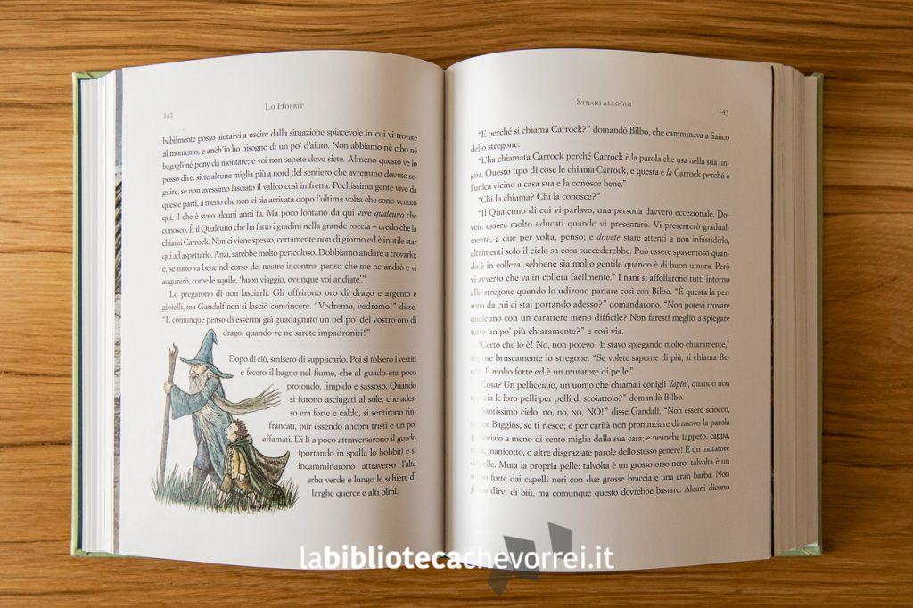 Pagina interna de Lo Hobbit di J.R.R Tolkien illustrato da Jemima Catlin, 1a edizione, Bompiani ottobre 2013.
