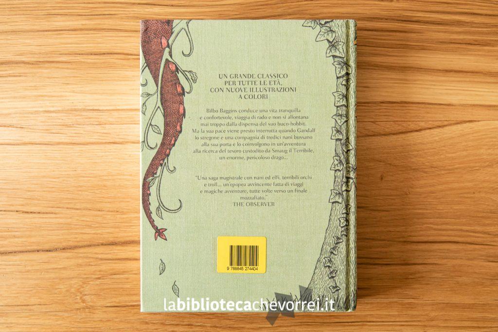 Retro copertina de Lo Hobbit di J.R.R Tolkien illustrato da Jemima Catlin, 1a edizione, Bompiani ottobre 2013.