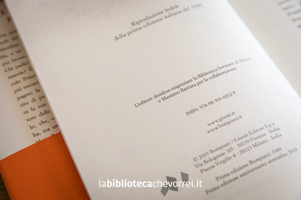 """Pagina dei crediti della nuova edizione con riferimenti a siti web e alla """"Prima edizione anniversario: settembre 2019""""."""