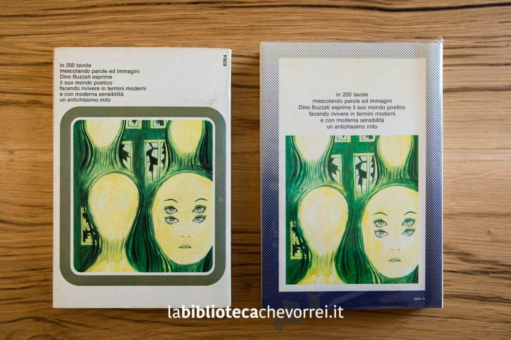 """Retro copertina della prima edizione (a sx) e della seconda edizione (a dx) di """"Poema a fumetti"""" di Dino Buzzati. Mondadori, 1969."""