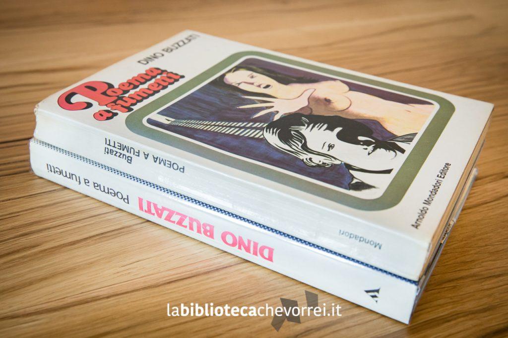 """Dorso della prima edizione (sopra) e quello della seconda edizione (sotto) di """"Poema a fumetti"""" di Dino Buzzati a confronto. Mondadori, 1969."""