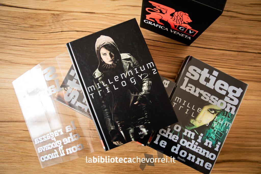 Le bellissime sovraccoperte in acetato per la nuova edizione della trilogia di Larsson.