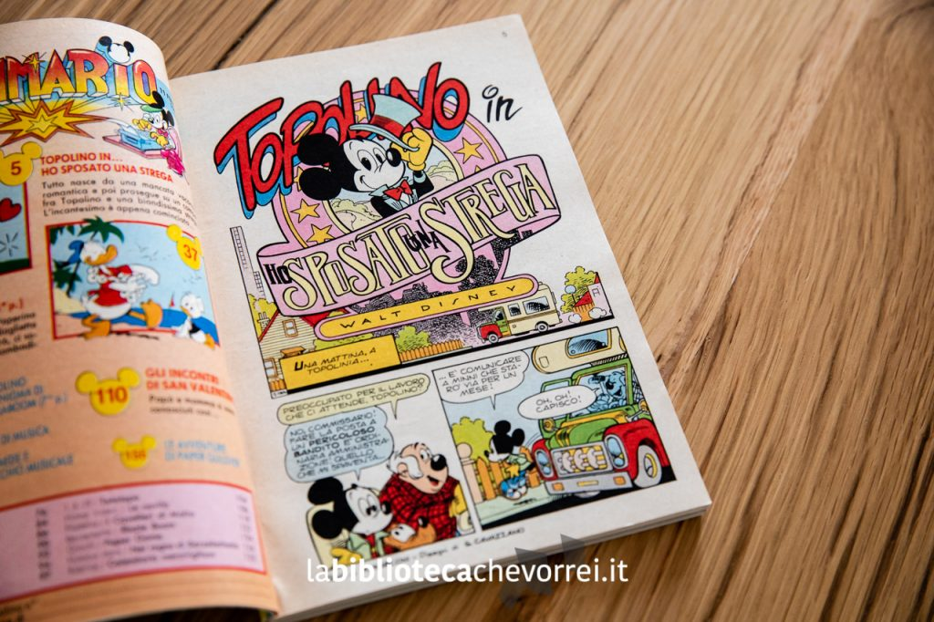 """Prima pagina della storia: Topolino in """"Ho sposato una strega"""". ©WaltDisney 1990."""