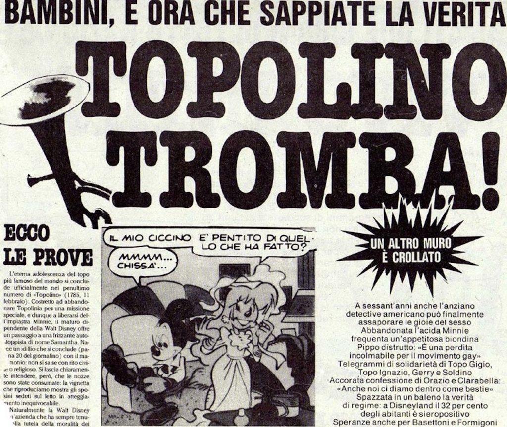 L'articolo di Cuore, uscito nel 1990, che faceva riferimento allo scandalo creato dalla storia da poco uscita su Topolino n.1785.