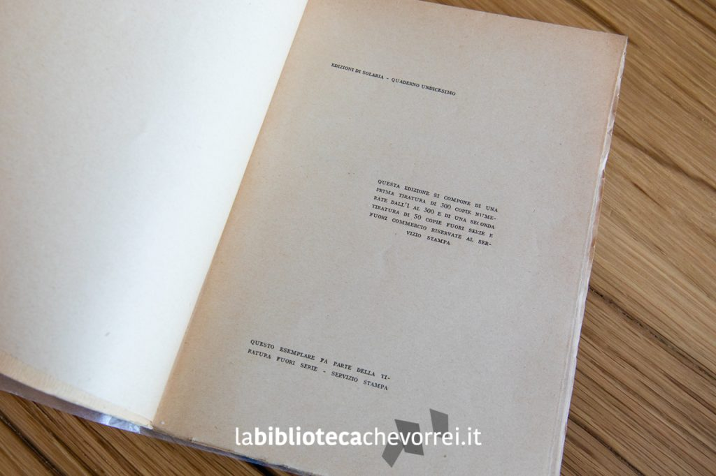 """Indicazioni della tiratura della prima edizione """"Caprizzi canzonete e stòrie"""" di Virgilio Giotti."""