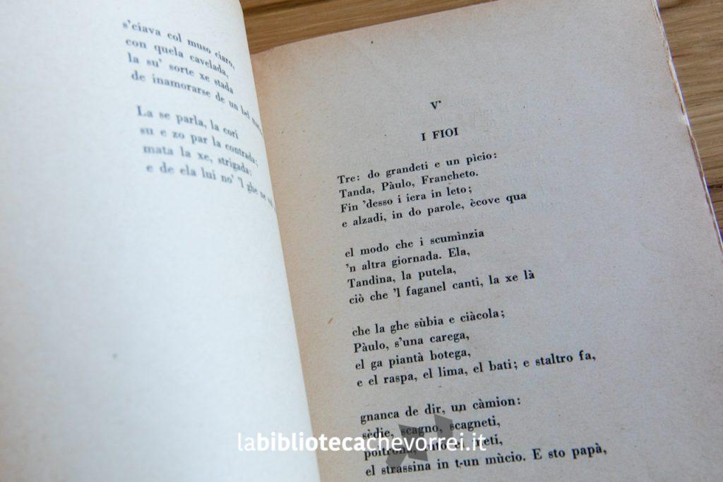 """Pagina interna del volume """"Caprizzi canzonete e stòrie"""" di Virgilio Giotti. Ed. Solaria, 1928."""