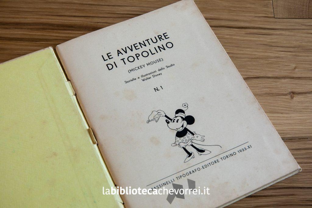 """Frontespizio dell'edizione del 1933 de """"Le avventure di Topolino N.1"""", Frassinelli."""