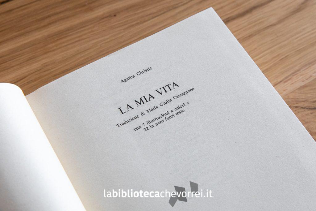"""Frontespizio della 1a edizione dell'autobiografia di Agatha Christie """"La mia vita"""", Mondadori 1978."""
