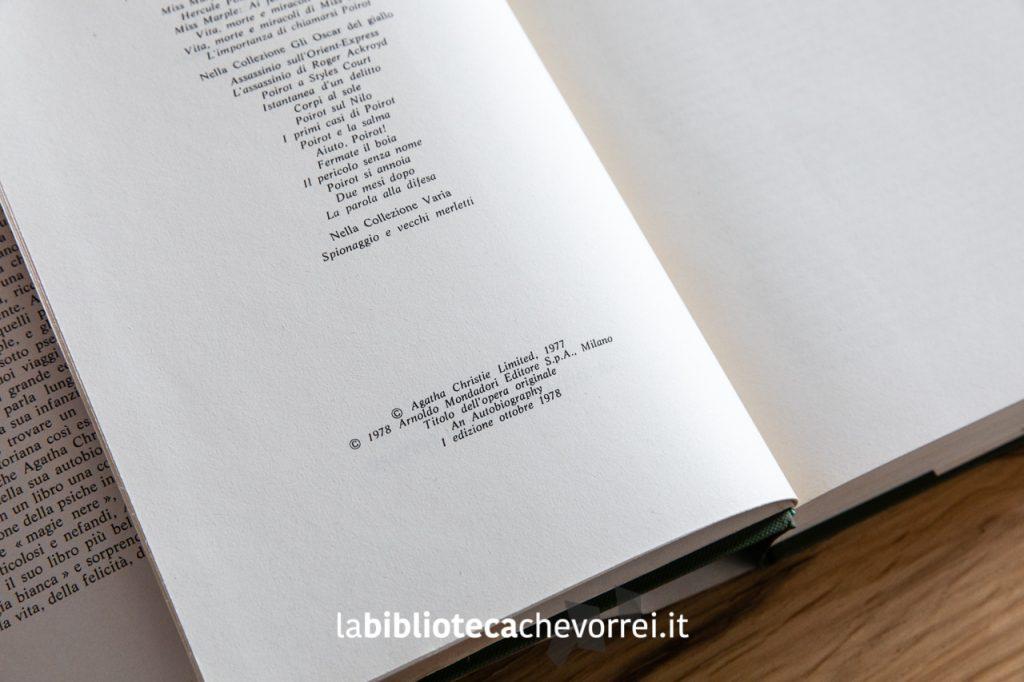 """Pagina dei crediti con l'indicazione della 1a edizione dell'autobiografia di Agatha Christie """"La mia vita"""", Mondadori 1978."""