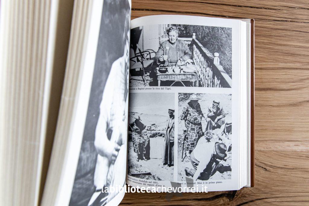 """Pagina interna con fotografie in bianco e nero nella 1a edizione dell'autobiografia di Agatha Christie """"La mia vita"""", Mondadori 1978."""
