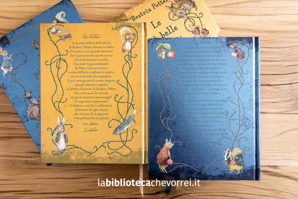 Il retro copertina dei cofanetti dedicati a Beatrix Potter.