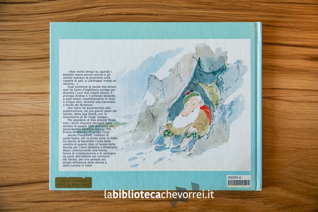 Retrocopertina del libro per bambini scritto da Carlo d'Inghilterra e illustrato da Sir Hugh Casson. 1985 © Frassinelli